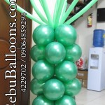 4ft Column (Green) with Long Balloons