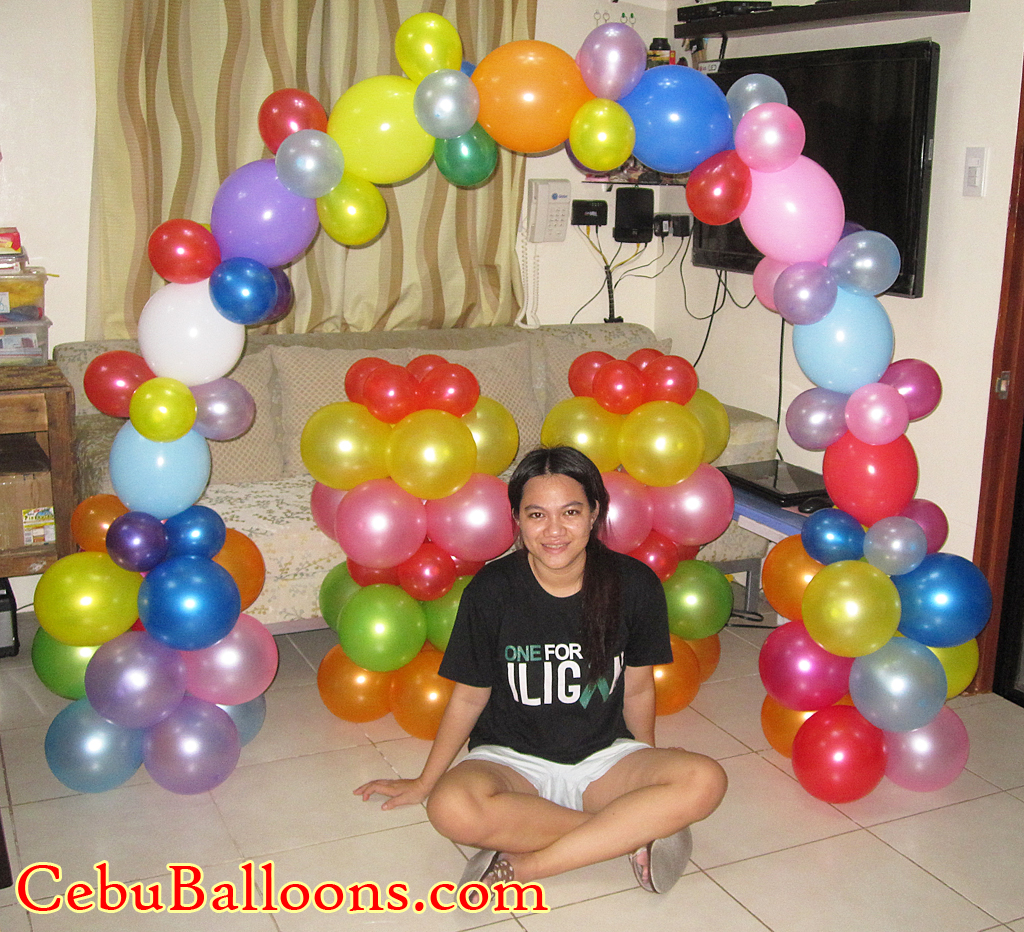 Balloon arch and stage decoration candyland theme cebu for Balloon arch decoration