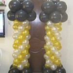 Black, White & Gold with Star Balloon Columns