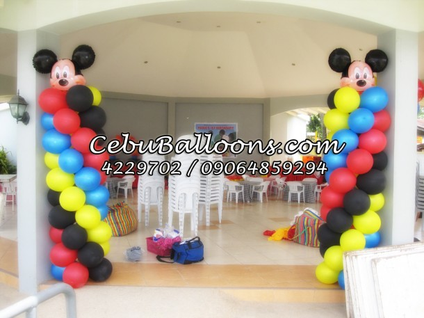 Columns with Mickey Mouse Balloons