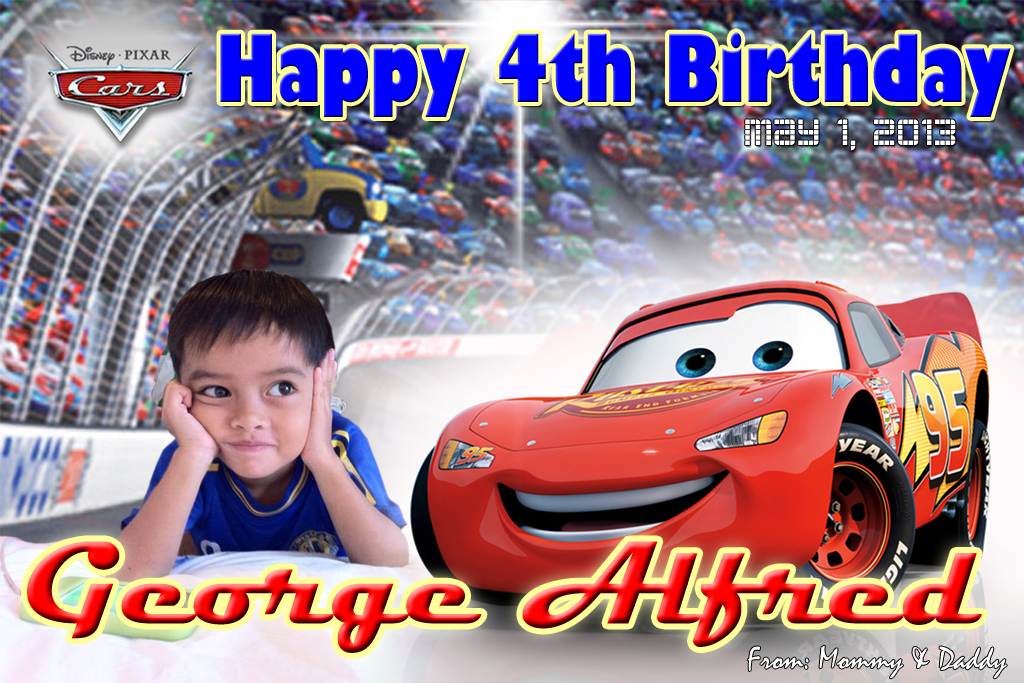 George Alfred (Cars Theme Tarpaulin) | Cebu Balloons and Party Supplies