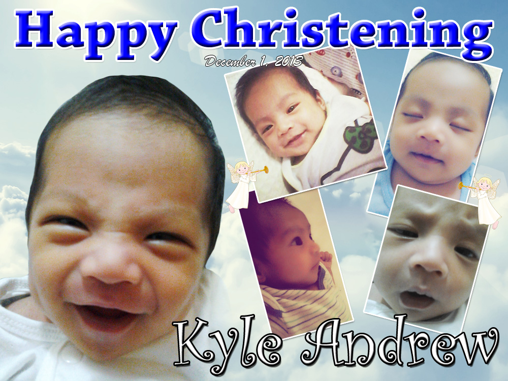 Kyle's Christening Tarpaulin Layout | Cebu Balloons and Party Supplies