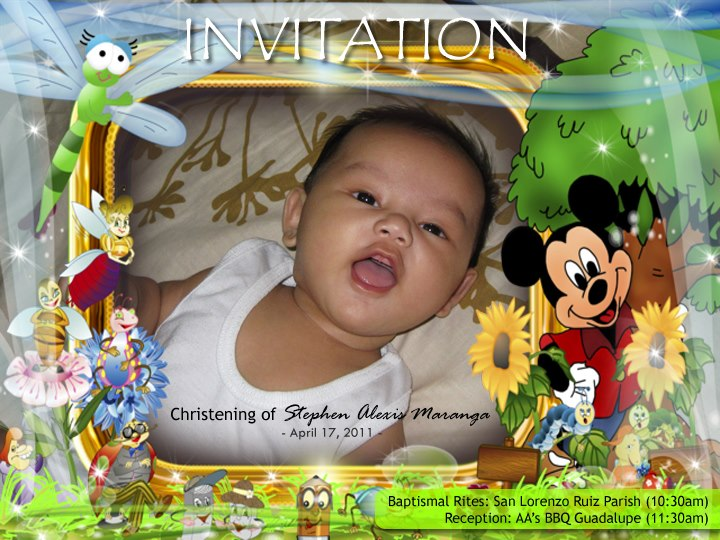 Sams christening invitation mickey cebu balloons and party sams christening invitation mickey stopboris Images