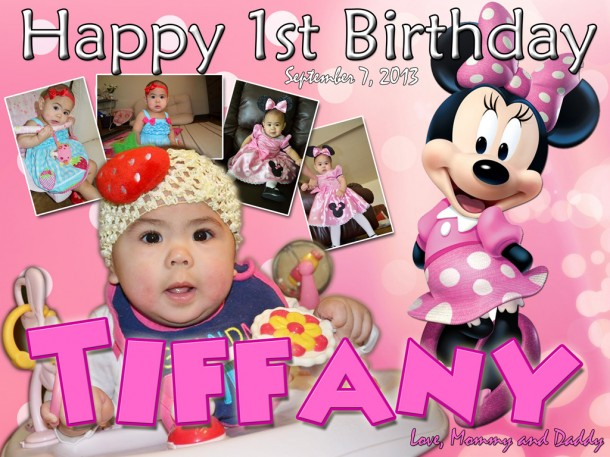 Tiffany's 1st Birthday Tarpaulin (Mickey Mouse Theme)