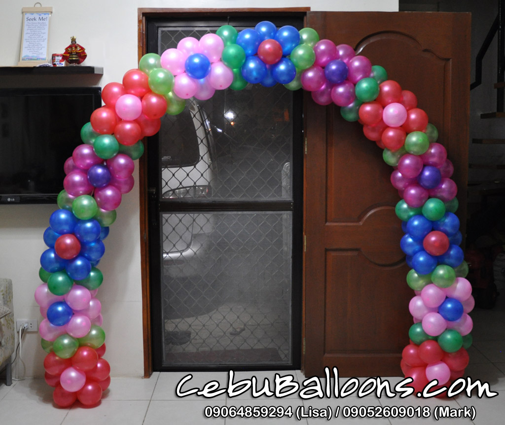 Stage decors for girl christening cebu balloons and for Arch balloons decoration
