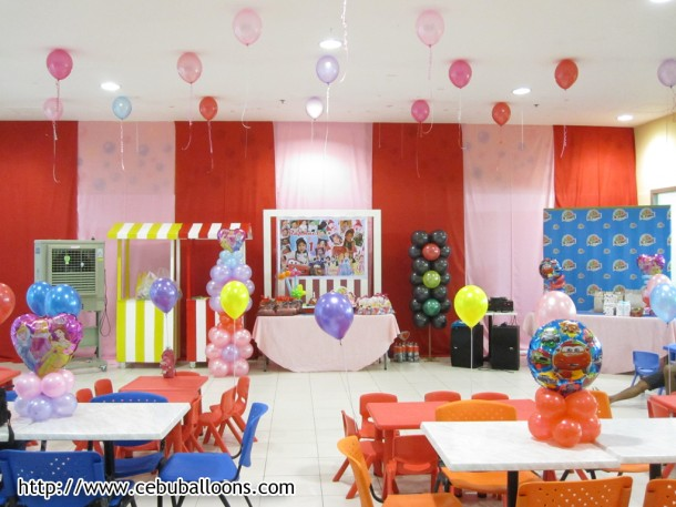 Final Setup of Princess and Cars Theme Birthday Party