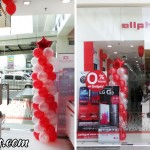 Red & White Balloon Pillars with Star at AllPhones Insular Square