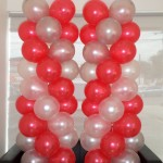 Red, White, Silver Balloon Pillars for MHE Demag