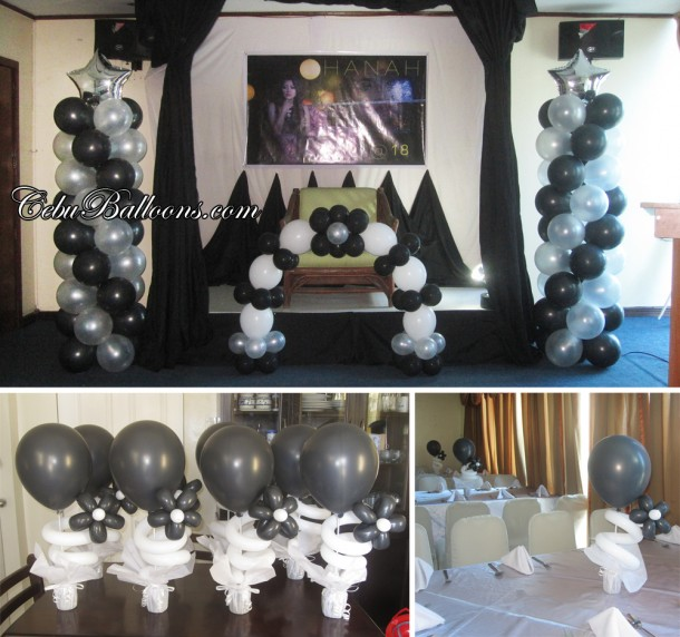 18th Birthday (Black & White) Balloon Decoration at Golden Peak Hotel