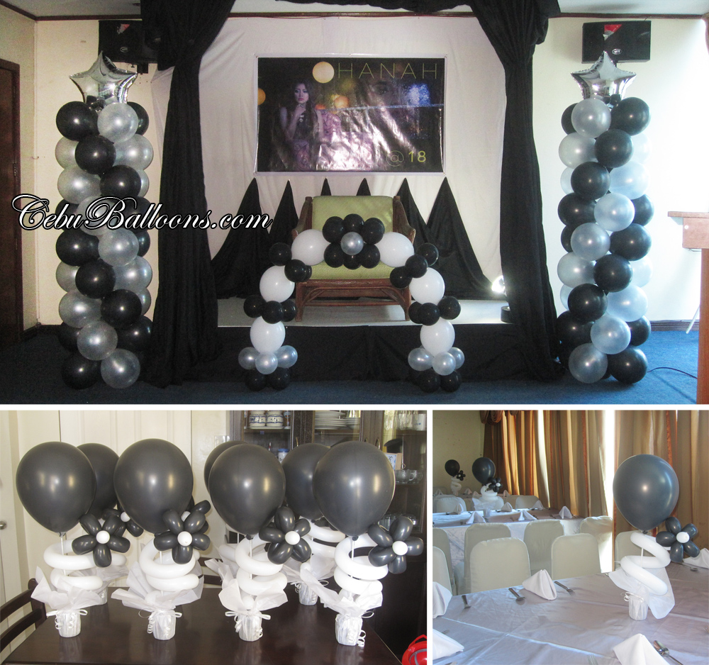 18th Birthday Black White Balloon Decoration At Golden Peak Hotel