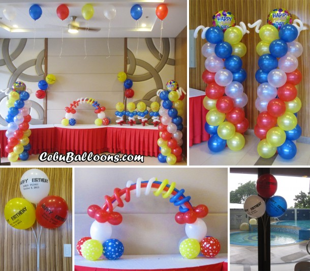 Rainbow cebu balloons and party supplies for 1st birthday balloon decoration images