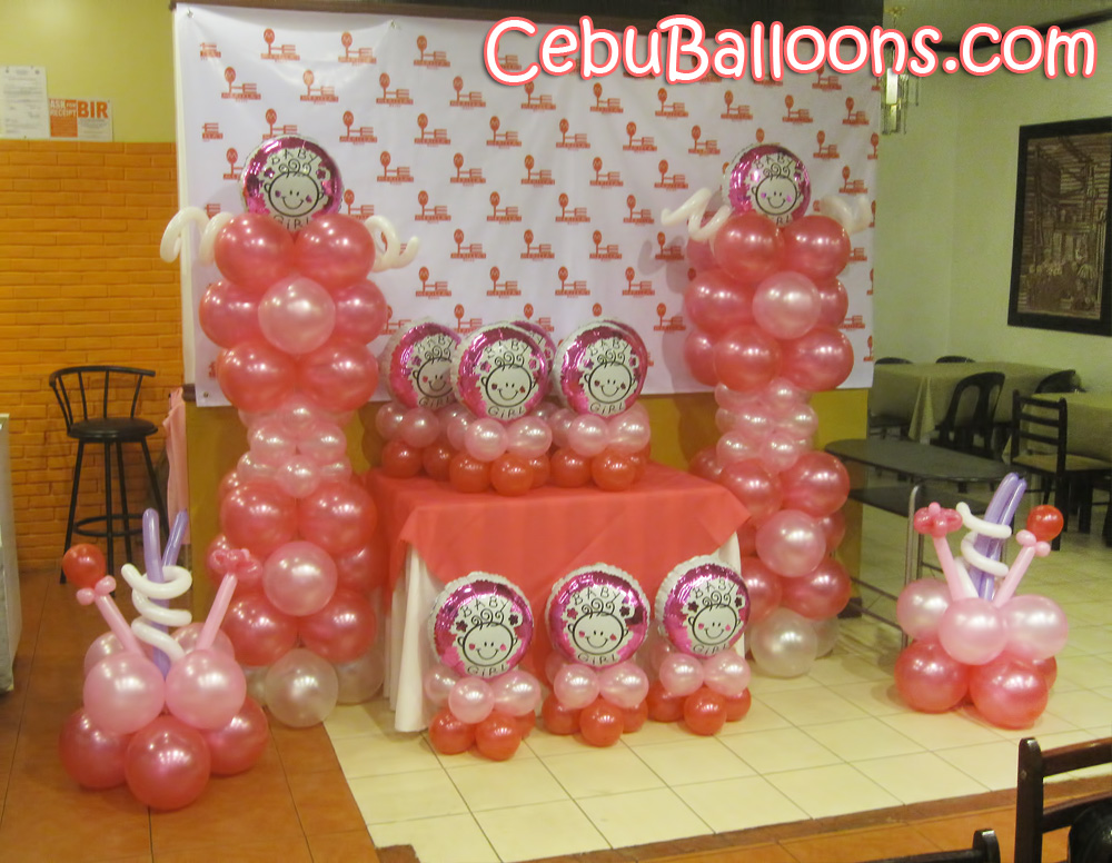 Girl christening balloon setup at sugbahan cebu balloons for Baby girl baptism decoration ideas