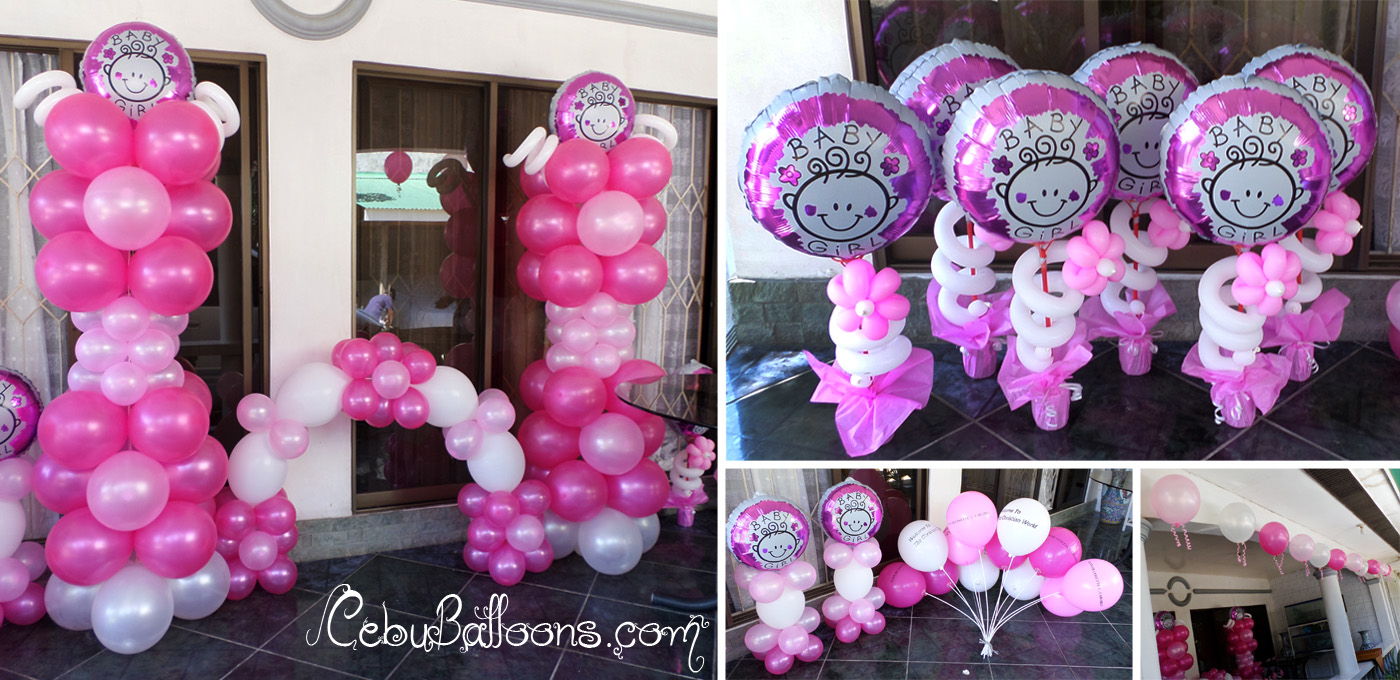 Christening girl cebu balloons and party supplies for Balloon decoration for baby girl