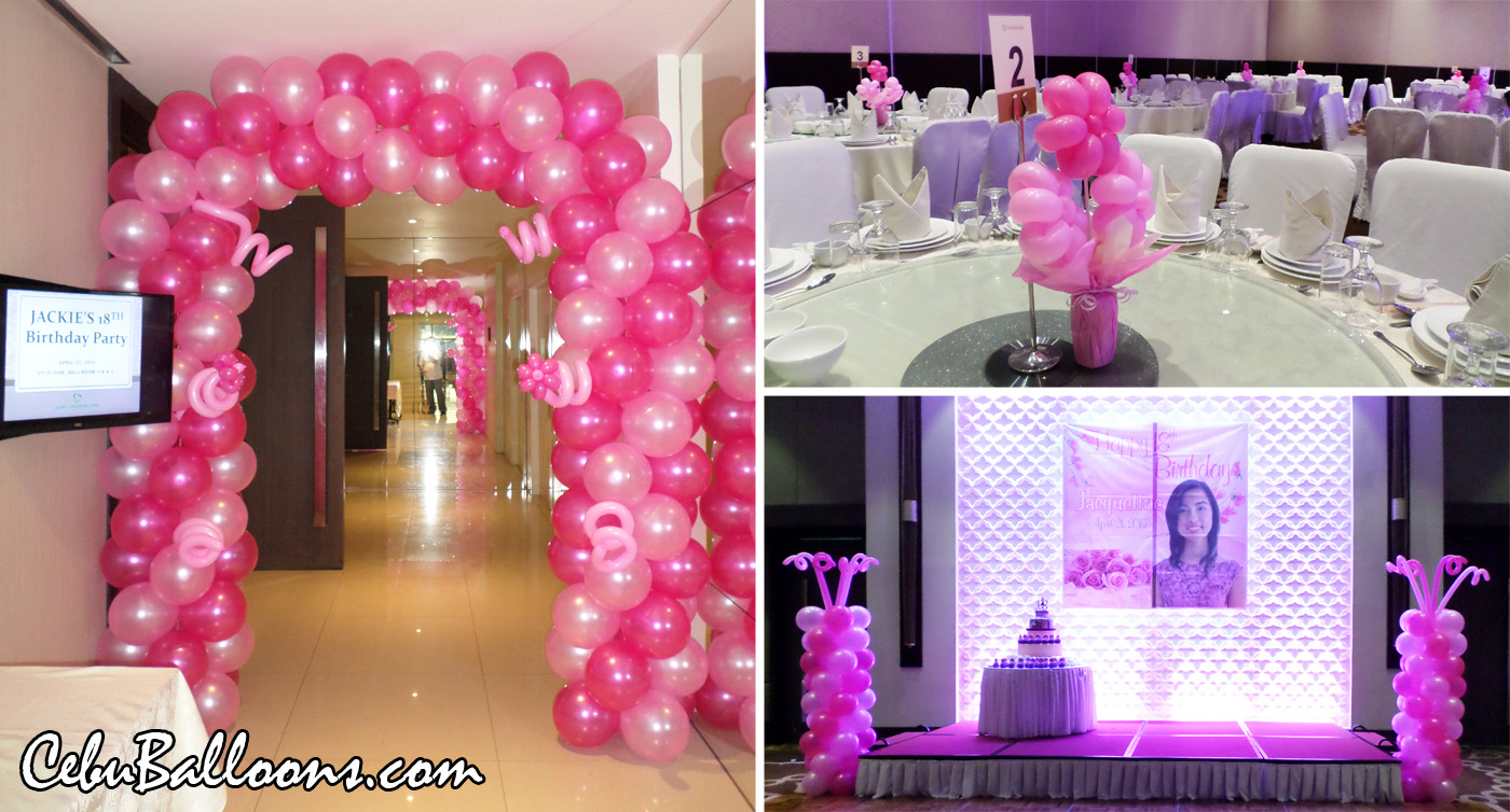 Balloon Decoration For Jackies 18th Birthday At Cebu Grand Convention