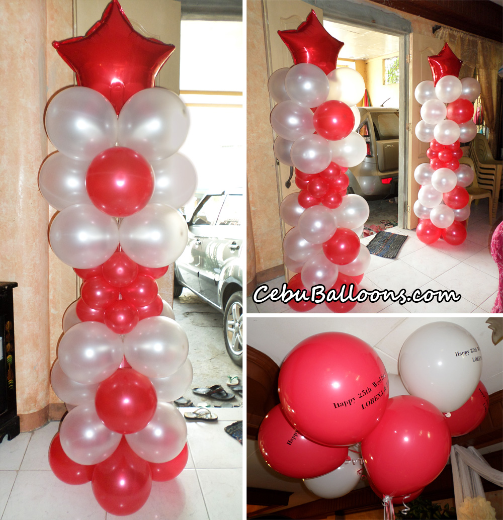 Wedding cebu balloons and party supplies for 25th wedding anniversary stage decoration