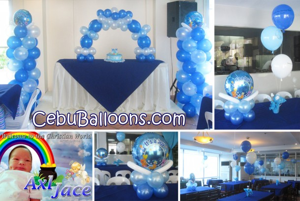 Boy Baptism Party Balloon Arrangement at Golden Peak Hotel