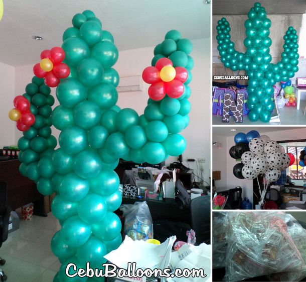 Cactus Balloon Pillars & Personalized Keychains for a Cowboy Party