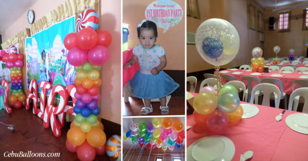 Candyland Balloon Decorations with Styrocrafts and Clown for Zaira's 1st Birthday at AA's Barbeque Guadalupe