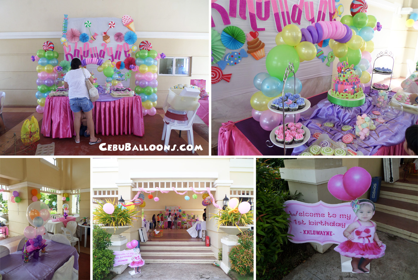 Candyland cebu balloons and party supplies for Balloon decoration for first birthday