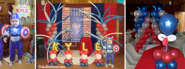 Captain America Balloon Setup with Tarp and Standees at Lola Saling's Restaurant