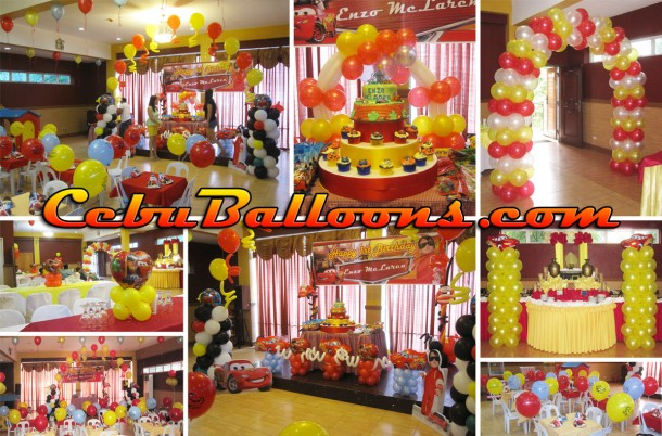 Cars (Lightning McQueen) Balloon Decoration Setup at Hannah's Party Place for Enzo McLaren's 1st Birthday