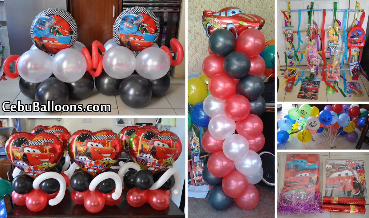 Cars lightning mcqueen cebu balloons and party supplies for Balloon decoration cars theme
