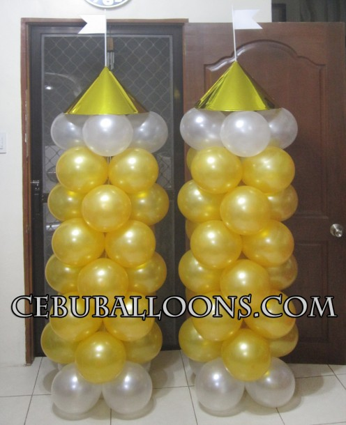 Castle Balloon Columns (White & Gold)