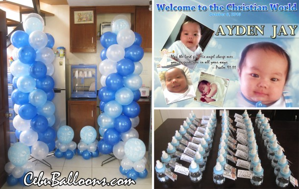 Christening Balloon Arrangement Package & Giveaways