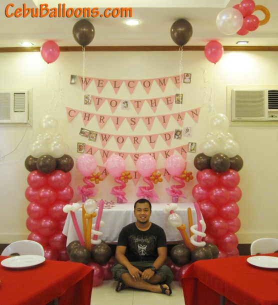 Christening Balloon Decoration & Buntings at AA's Barbeque Pusok