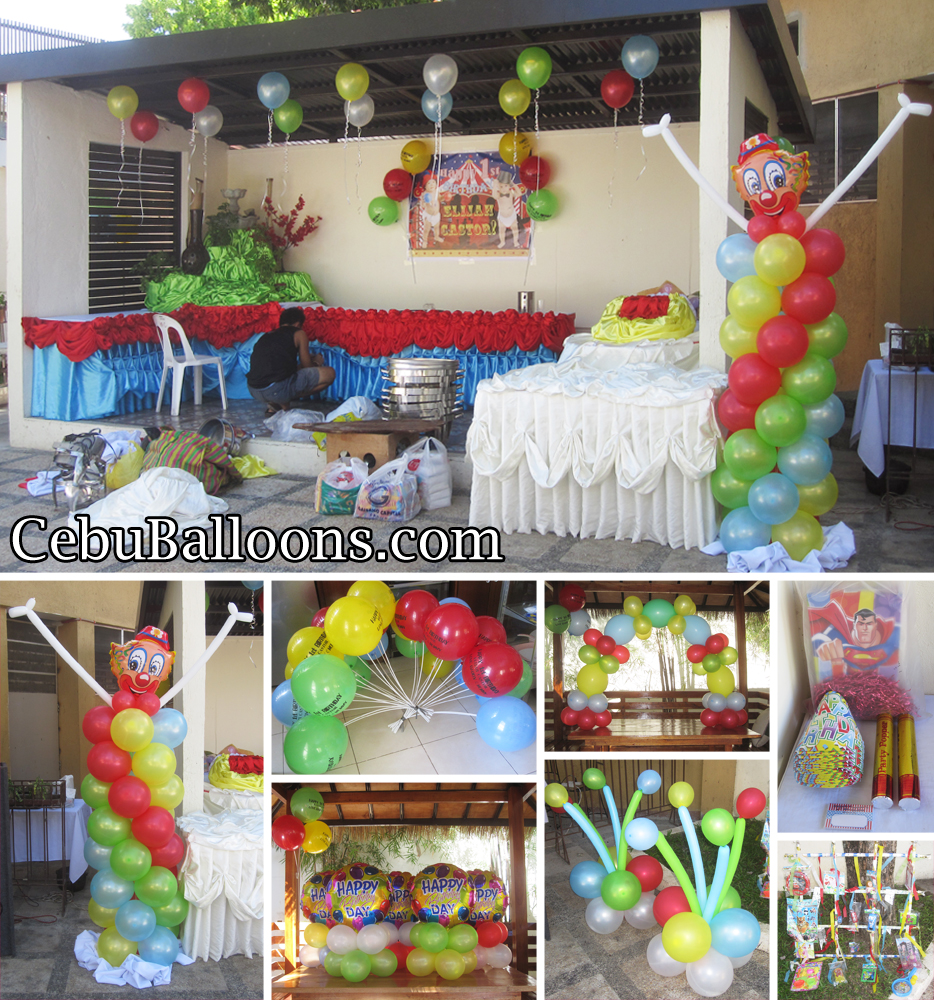 Clown balloon decoration party package at vacation hotel for Balloon decoration packages manila