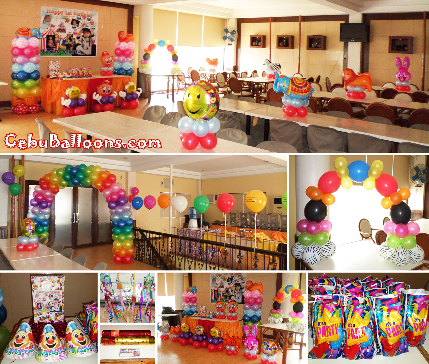 Carnival theme balloon decoration party package at happy for Balloon decoration for birthday party philippines