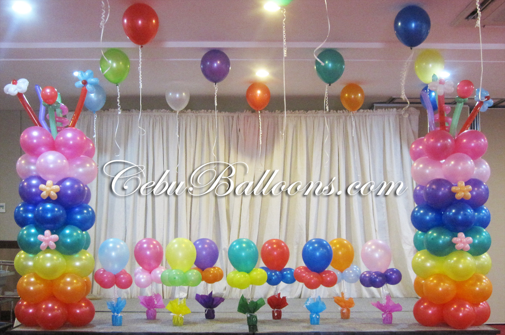 Rainbow cebu balloons and party supplies for Balloon decoration images party