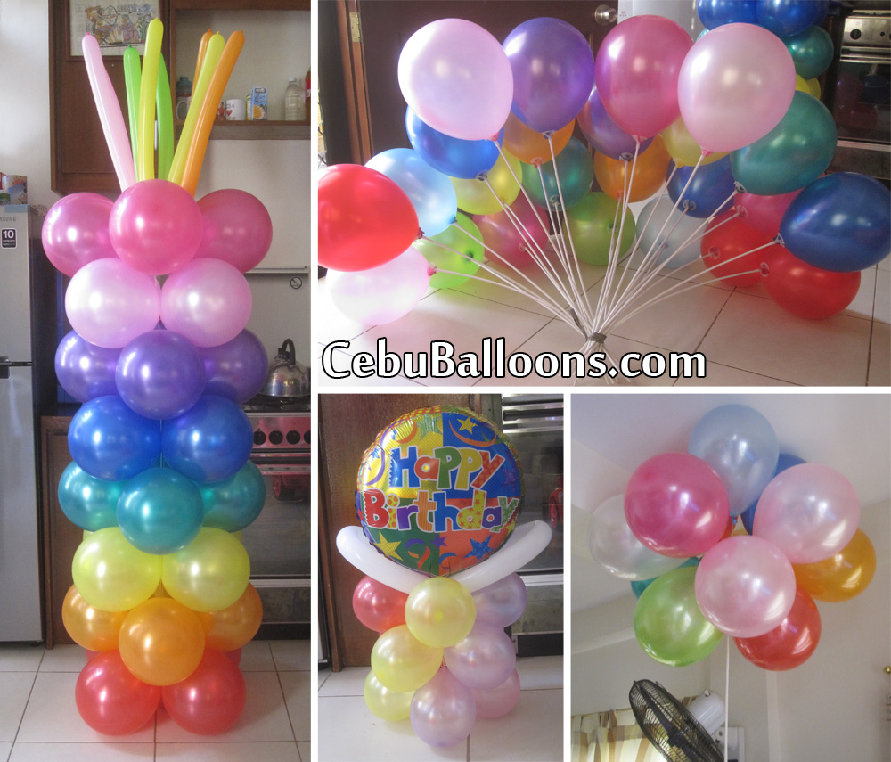 Colorful balloon decoration for a manager 39 s birthday for Balloon birthday decoration