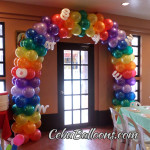 Colorful Entrance Arch for a Disney Up theme Balloon Setup at AA's Barbeque Guadalupe