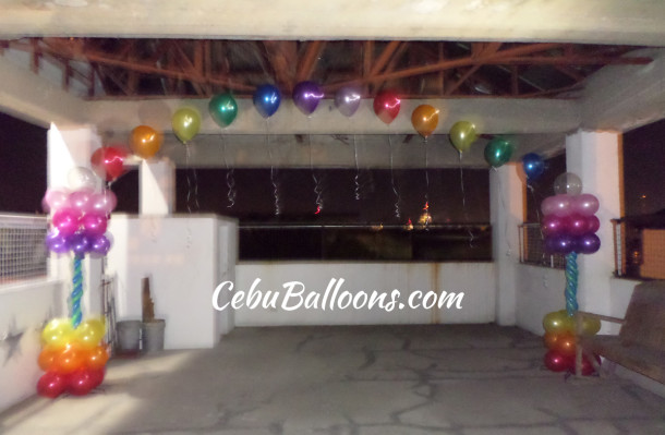 Colorful Entrance Balloon Arch for a Wedding Celebration