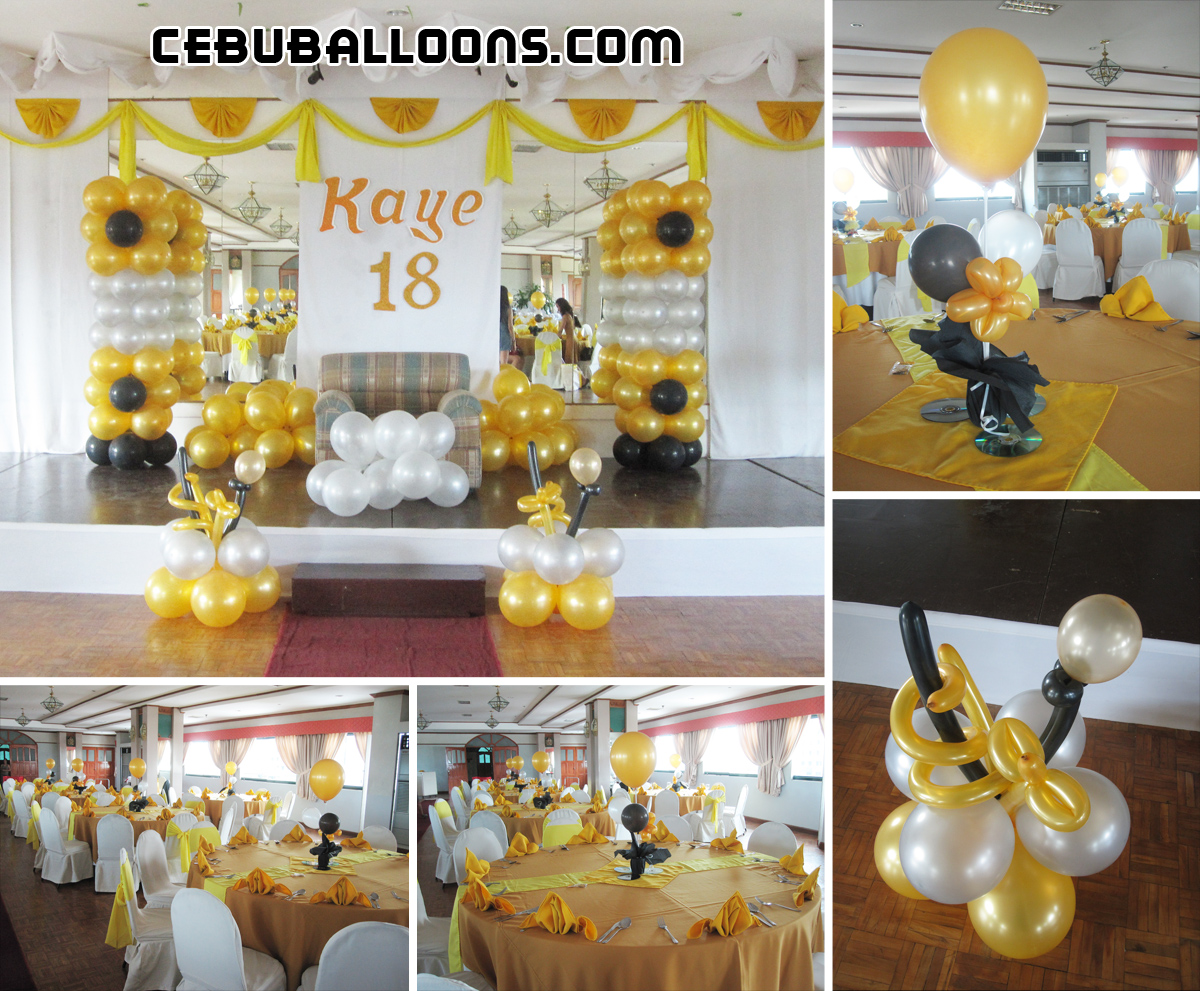 Debut Balloon Decoration Gold Black White