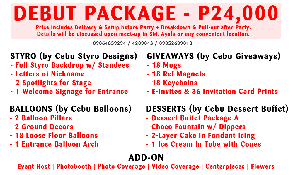 Debut 18th birthday cebu balloons and party supplies debut package stopboris Choice Image