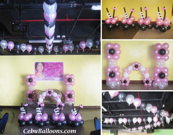 flower balloon decoration for debut at dohera hotel - Violet Hotel Decor