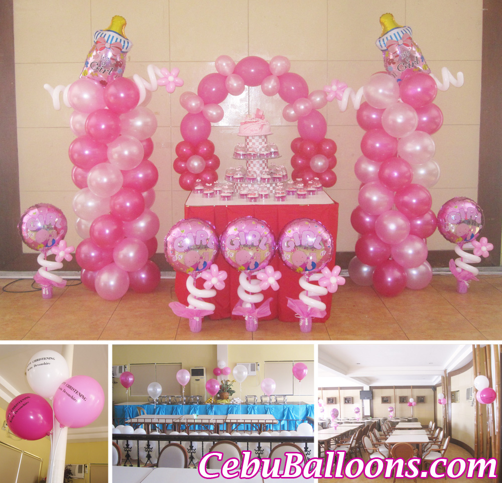 Christening girl cebu balloons and party supplies for Balloon decoration ideas for christening