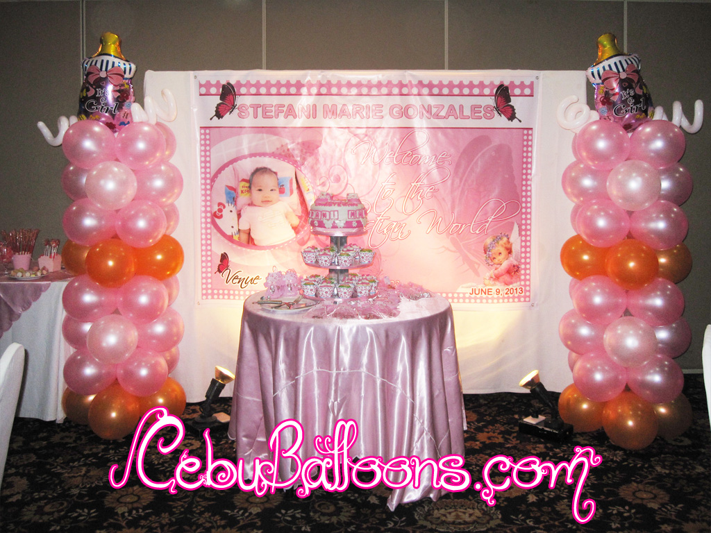 Debut Stage Backdrop Girl Christening Columns at