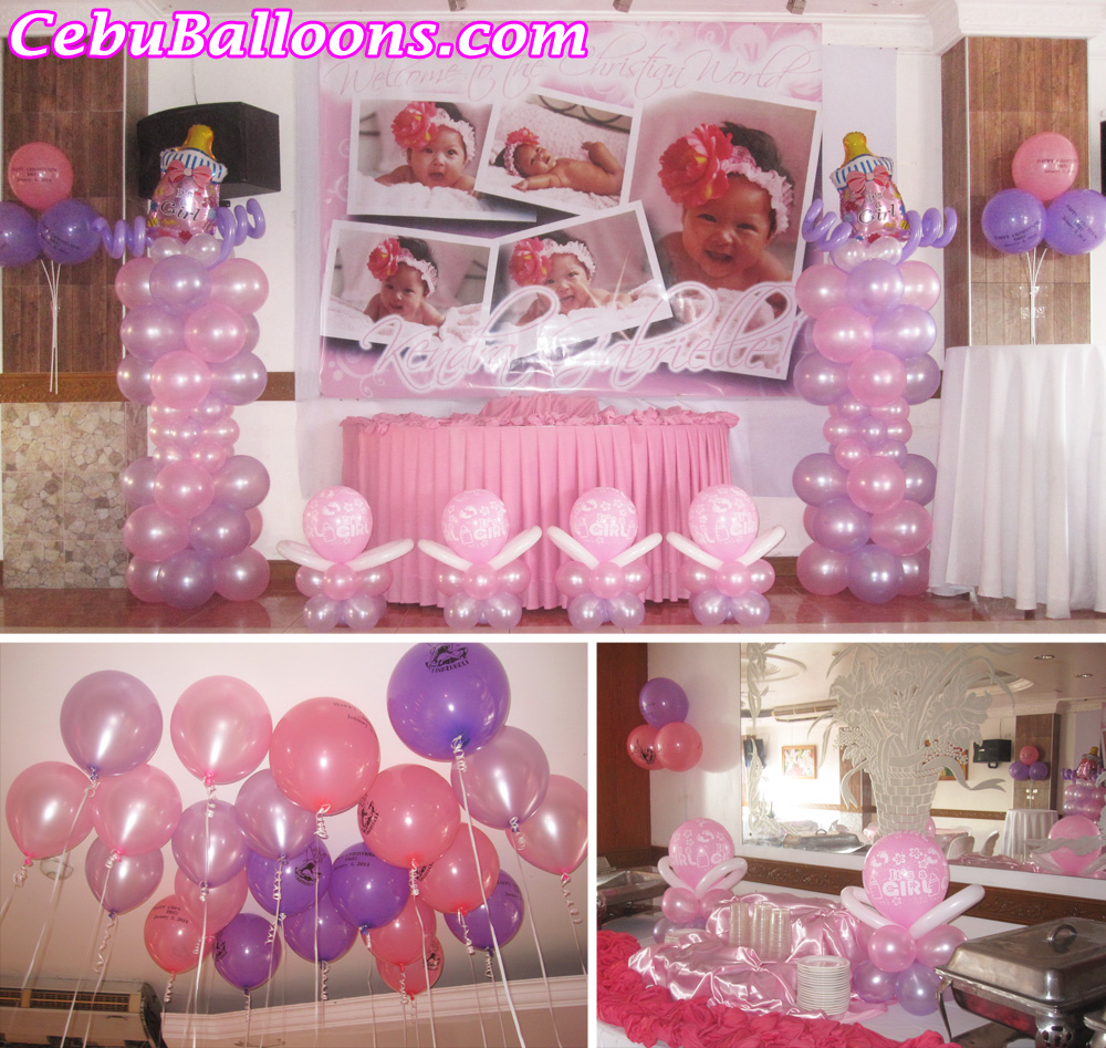 Christening balloon decoration cake ideas and designs for Baby christening decoration