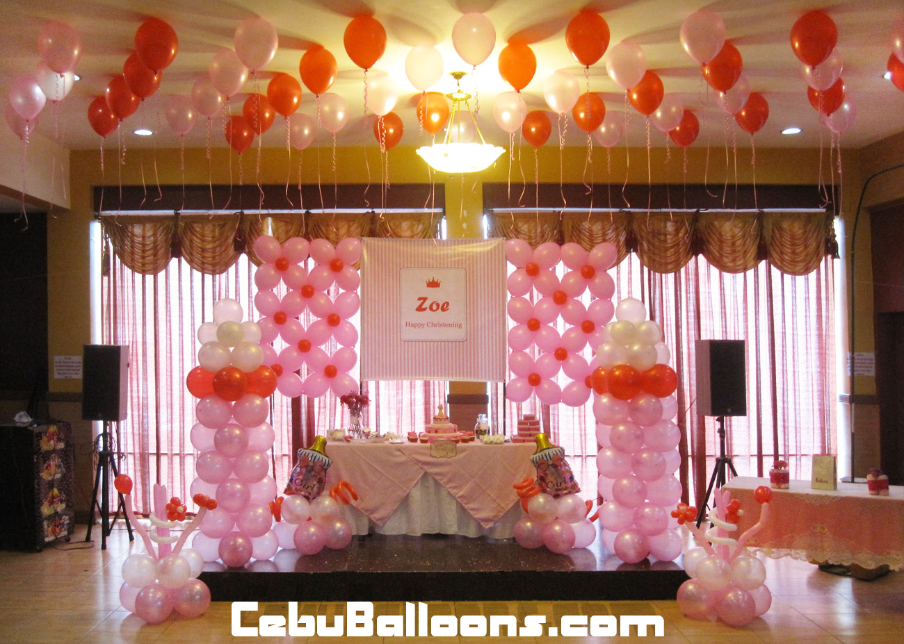 Christening balloons and decorations party favors ideas for Balloon decoration at home