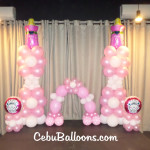 Girl's Christening Balloon Setup at Toast Cafe inside Copenhagen Residences