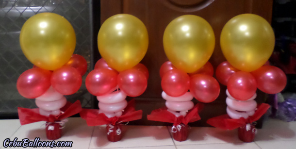 Gold, Red, White - Balloon Centerpieces for Ironman Birthday