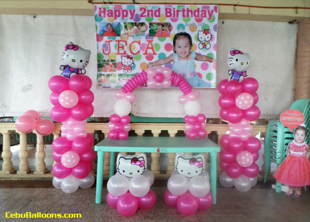 Hello kitty balloon decoration for jeca 39 s 2nd birthday at - Decoration hello kitty chambre bebe ...