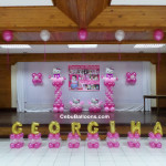 Hello Kitty Stage Decoration (for Georgina) using Balloons & Tarp at Sacred Heart Center