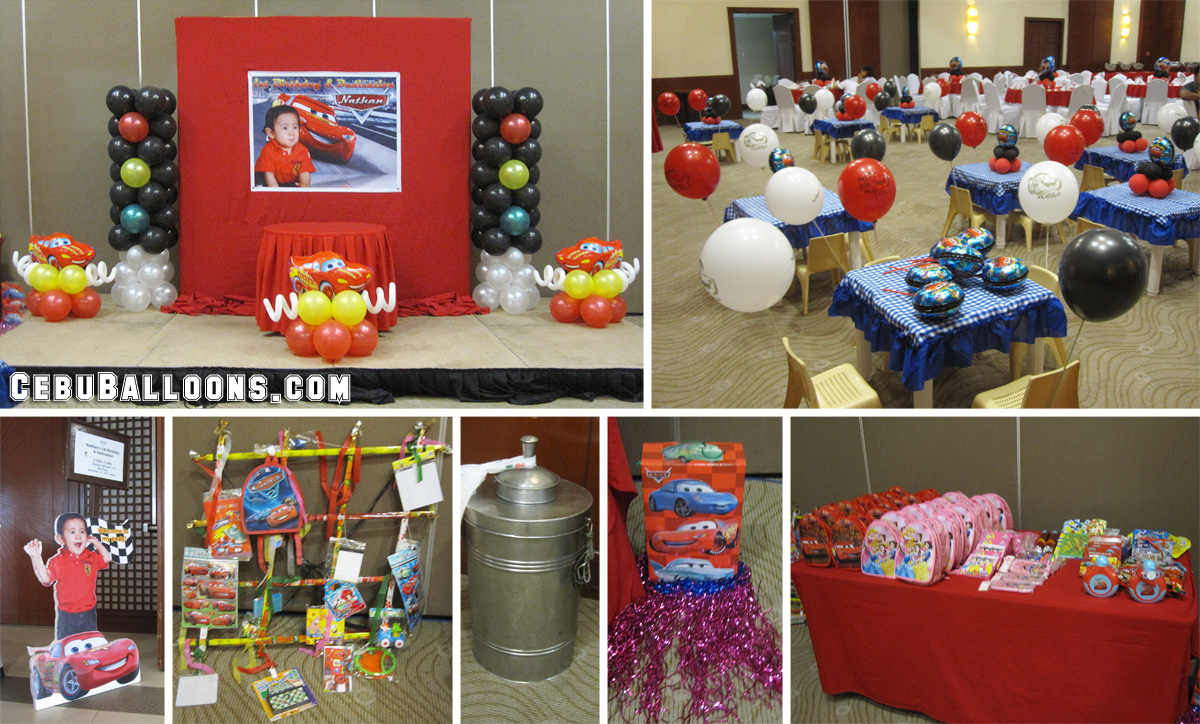 Cars theme balloon decoration and party package at vista for Balloon decoration cars theme