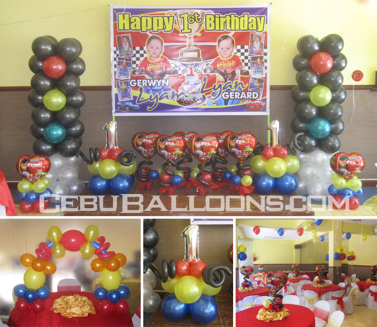 Lightning McQueen Balloon Decoration for Twins Birthday at Hannahs