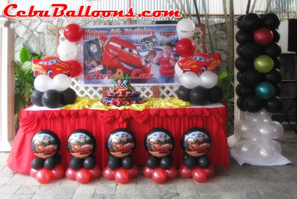 Lightning McQueen Balloon Setup at Metro Park Hotel - Poolside