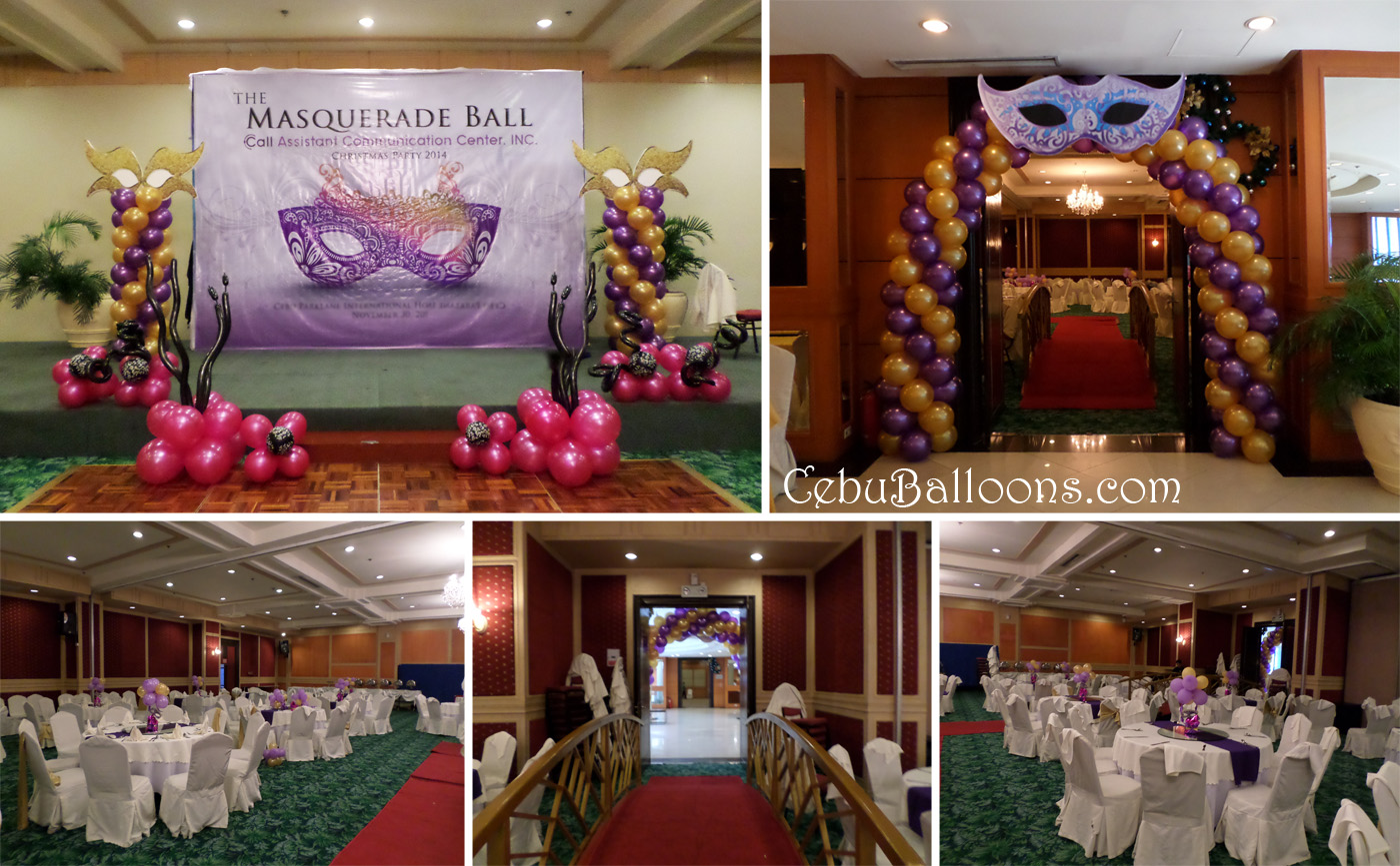 Masquerade Ball Balloon Decoration at Parklane Hotel for Call Assistant Communication Center Inc & Mardi Gras / Masquerade | Cebu Balloons and Party Supplies